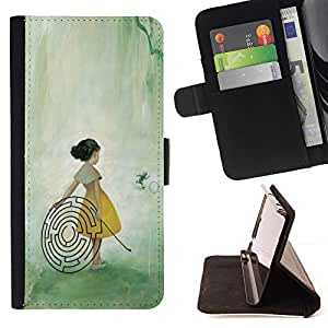 Momo Phone Case / Flip Funda de Cuero Case Cover - Chica Laberinto Laberinto Arte de hadas del bosque Pintura - LG Nexus 5 D820 D821
