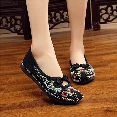 Twine Shoes Black Flats Comfortable Frog AvaCostume Embroidery Weave Womens Adron 4z66q8A
