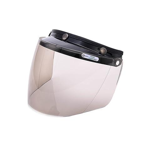 c32c39cd Amazon.com: Universal 3 Snap Flip Up Visor Face Shield Lens for Open Face Motorcycle  Helmets by MotorFansClub (LightSmoke, One Size): Automotive