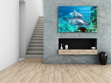 Startonight Glow-in-the-Dark Canvas Picture Dolphins 90 x 60 cm