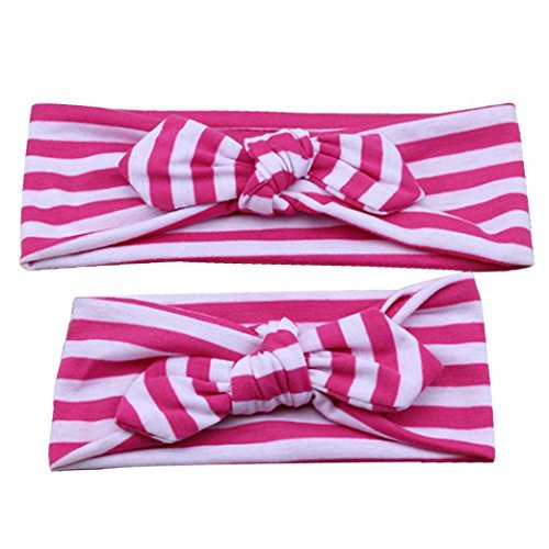 Baishitop Paternity Mom and Baby Girls Bowknot Striped Hair Hand,Elastic Flower Headband (Hot Pink ) (Cotton Headband Striped)