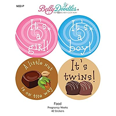 Belly Doodles 40 Weekly Pregnancy Stickers Junk Food 3.94inch : Baby