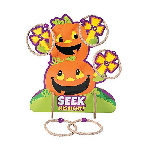 Fun Express - Christian Pumpkin Ring Toss Game for Halloween - Toys - Games - Misc Games - Halloween - 10 Pieces ()