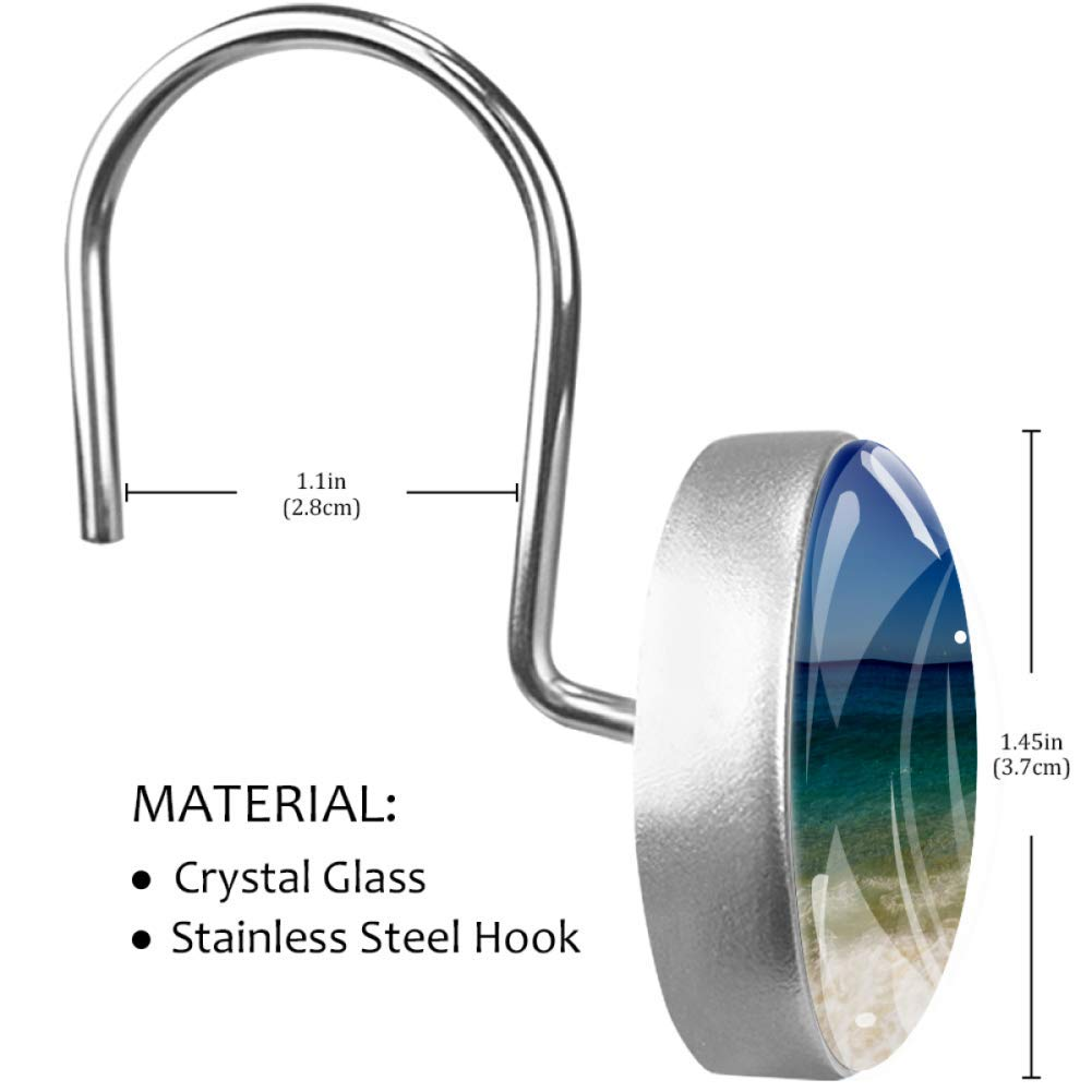 Yuzheng Sea Z001 Curtain Glider Hooks Crystal Glass Curtain Shower Hooking Decorative Bathroom Shower Curtain Hooks/ Ring for Bathroom Office Living Room Pack of 12