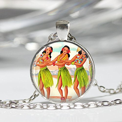 Hula Girl Necklace Hawaii Tropical Island Kitschy Hawaiian Art Pendant in Bronze or Silver with Link Chain Included