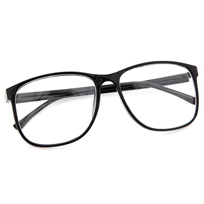 amazoncom grinderpunch large nerdy thin plastic frame clear lens eye glasses frame 2 pack clothing