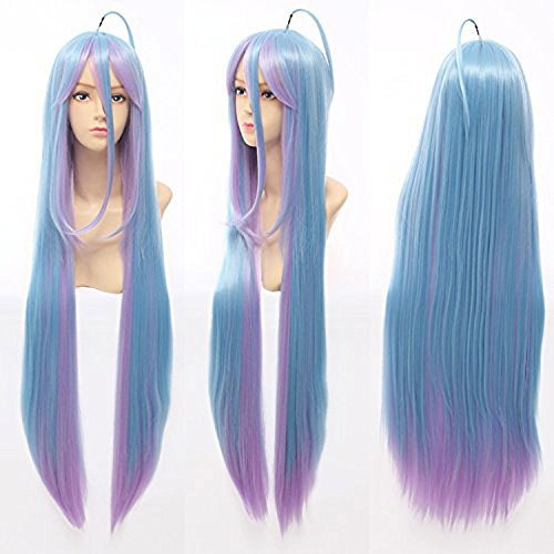 Price comparison product image Anogol Hair Cap No Game No Life Shiro Cosplay Wig Long Blue Mix Wigs