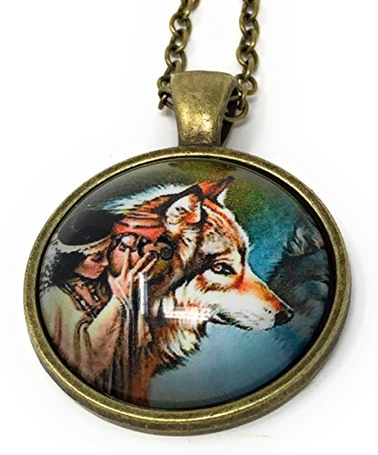 Native American Women And Wolf Glass Dome Pendant Necklaces / Art Portrait Pendant Photo Under Glass Necklaces With Antique Gold Chain (Girl With Vase And Timber Wolf) (Portrait Vase)