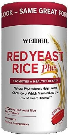 Weider Red Yeast Rice Plus with Phytosterols 1200 mg per 2 Tablets – 240 Tablets