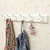 Coat Hook Wall Door Hook Storage Rack Creative Woodiness Coat Rack (Color : White, Size : 6 Hooks)