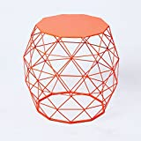 Joveco Triangle Pattern Wire Round Iron Metal End Table Side Table Sofa Table Coffee Table (Orange)