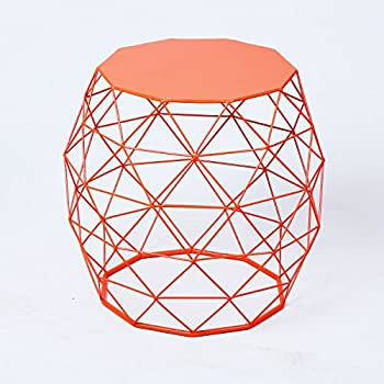 Amazon.com: Joveco Stylish Metal Drum Wire Round End Table Side ...