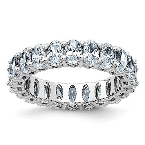 Jewels By Lux 14K White Gold Oval Eternity Band D E F Pure Light Moissanite ()