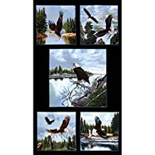 Majestic Bald Eagle 24 In. Panel Black Fabric By The Yard