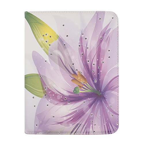 """Floral Case for Samsung Galaxy Tab S 10.5"""", Flip Case for Samsung Galaxy Tab S T800, IKASEFU(TM) Girl's Cute Flower PU Leather Folio Case Protective Book Style Flip Cover Bling Case with Stand and Rhinestone for Samsung Galaxy Tab S 10.5 inch T800"""