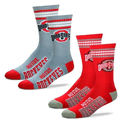 - For Bare Feet Men's 4 Stripe Deuce Crew Socks-Ohio State Buckeyes-Large-2 Pack