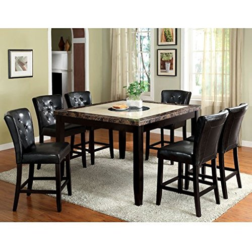 Belleview Black Finish Faux Marble Table Top Counter Height 9-Piece Dining Table Set