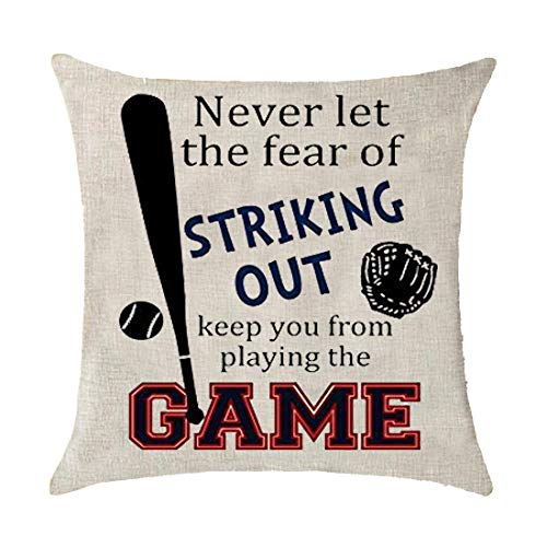 GAWEKIQE Sport Baseball Never Let The Fear of Striking Out Play The Game Gift Holiday Cotton Linen Throw Pillow Cover Cushion Case Holiday Decorative 18