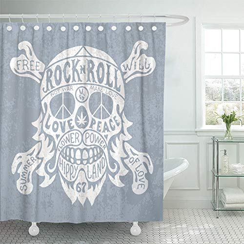 Emvency Shower Curtain Set Waterproof Adjustable Polyester Fabric Peace Hippie Skull Sign Love Skeleton Bandit 72 x 78 Inches Set with Hooks for Bathroom ()
