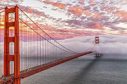 Evening Commute Dave Gordon Photograph Golden Gate Bridge Fog Print Poster 26x18