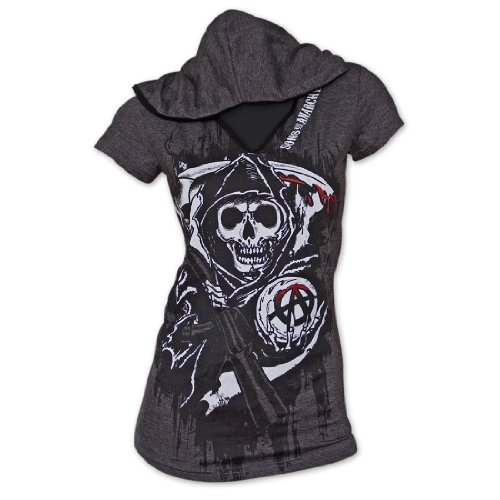 Sons Of Anarchy Reaper Hooded Juniors Tee Shirt Small Gray