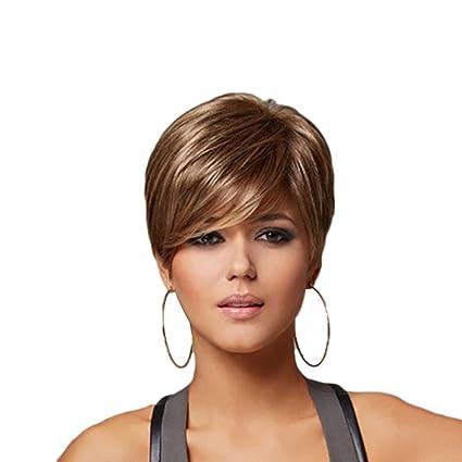 Peluca mujer clifcragrocl, Color degradado Fibra corta alta temperatura Mujeres peluca Fiesta Cosplay Faux Hair