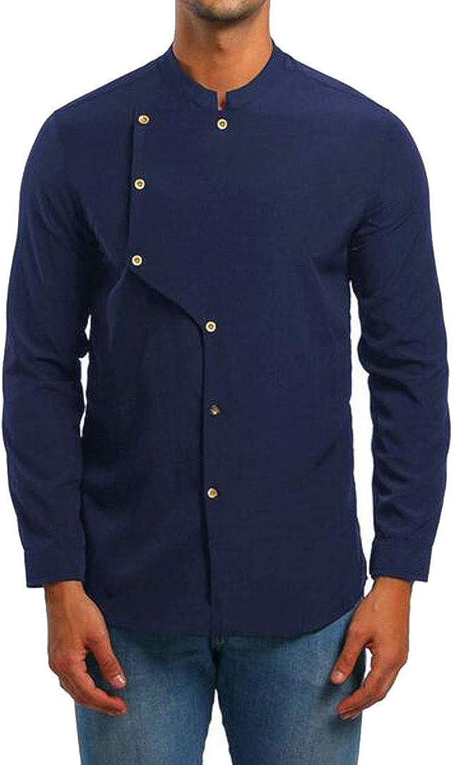 XiaoTianXinMen XTX Men Stand Collar Classic Button Down Cropped Slim Dress Shirts