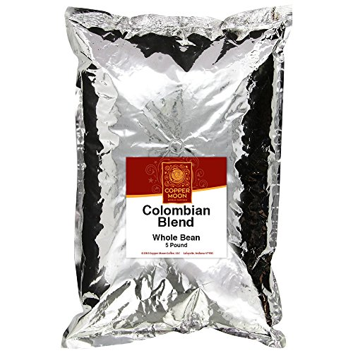 Copper Moon Whole Bean Coffee Colombian Blend 5 Pound Whole Bean Medium Roast Small Batch Coffee, Full-Bodied Rich in Flavor, Medium to High Acidity, 100% Arabica ()
