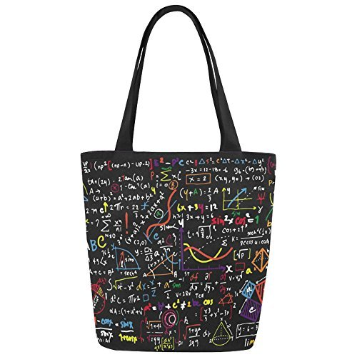 InterestPrint Math Linear Education Canvas Tote Bag Shoulder Handbag for Women Girls