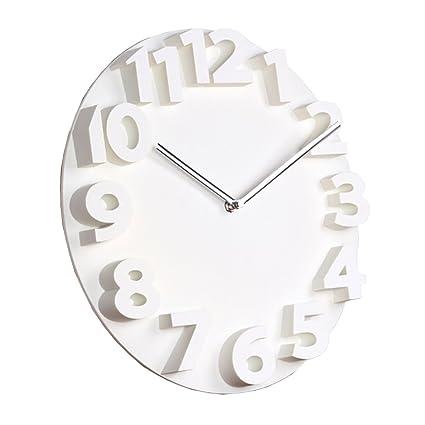 Del&Way 3D Redondo Reloj de pared,Silencioso sin ruidos El plastico Creativo Sala de estar