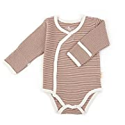 Tadpoles Organic Cotton Pin-Stripe Kimono-Style Bodysuit, Cocoa 3-6 Months