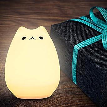 SOLMORE Veilleuse Chat LED USB Rechargeable Lampe de Chevet Lampe de Nuit Blanc Chaud /& 7 Couleurs 6 Modes RGB Ambiance D/éco de Chambre /à Coucher Cadeau pour Enfant B/éb/é Gar/çon Fille