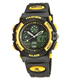 50m Water-proof Digital-analog Boys Girls Sport Digital Watch with Alarm Stopwatch Chronograph (Yellow)