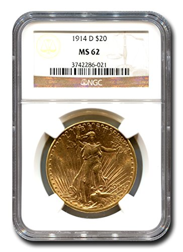1914 D Saint Gaudens Twenty Dollar NGC MS-62