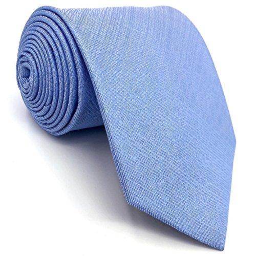 Shlax&Wing Baby Blue Solid Color Mens Necktie Tie 2.36
