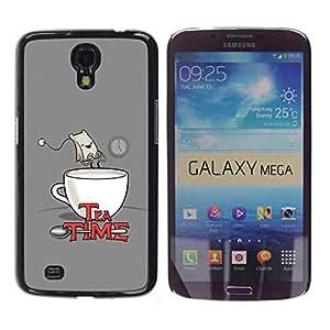 Qstar Arte & diseño plástico duro Fundas Cover Cubre Hard Case Cover para Samsung Galaxy Mega 6.3 / I9200 / SGH-i527 ( Tea Time Quote Funny Bag Drawing Art Comic)