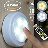 WRalwaysLX 2 Pack Remote Control LED cabinet push light Cool/Warm Adjustable Night Light, Operates On 3x1.5V AA batteries (Not Included) for Kitchen Under Cabinet Lighting,Closets, Cabinets, Counters.