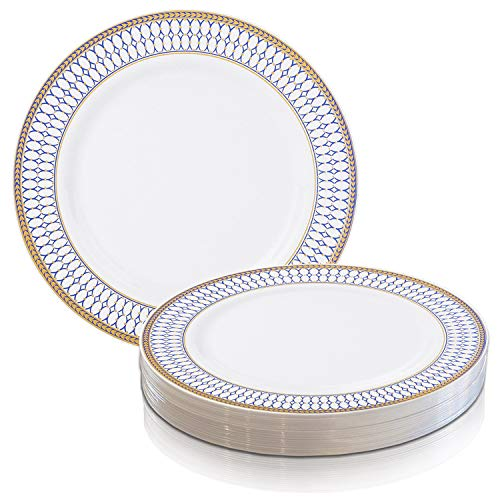 (Elegant Disposable Plastic Dessert Plate Set - Heavy Duty Round White with Blue & Gold Reusable Salad or Cake Party Plates For Wedding, Christmas, Thanksgiving, Birthday & Other Occasions - 120 Plates)