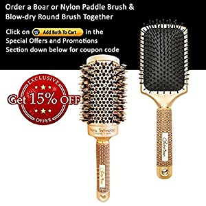 "Brazilian Blow Dry Vented Round Hair Brush with Natural Boar Bristles for Salon-Like Blowouts with Volume (2"" Gold) - Best Roller Brush for Healthy Shiny Frizz-Free Hair - Great Mother's Day Gift"