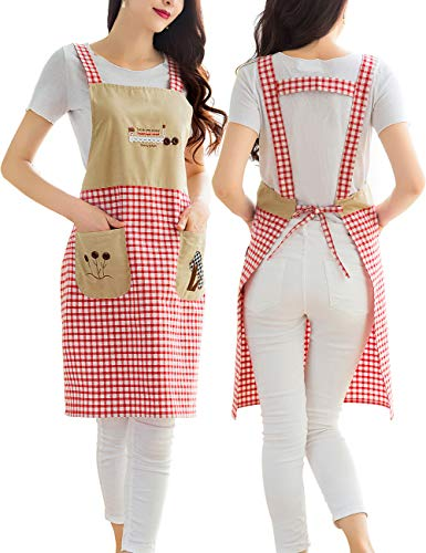 Personalized Chef Apron with Pockets - Cotton Kitchen Aprons Long for Waitress,Girls,Grandma Suitable for Cooking,Baking,Grilling,Painting Even Fit for Arts,Holiday(Print Red Plaid)