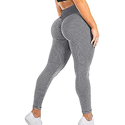 SEASUM Women's High Waist Yoga Pants Scrunched Booty Leggings Workout Running Butt Enhance Textured Tights: Clothing
