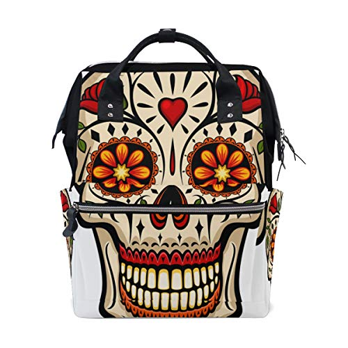 Floral Rose Traditional Skull Large Capacity Diaper Bags Mummy Backpack Multi Functions Nappy Nursing Bag Tote Handbag for Children Baby Care Travel Daily Women]()