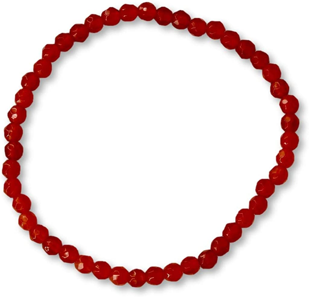 Pulsera roja de piedra preciosa natural de ágata con bolas facetadas de 4 mm en hilo elástico de nailon – hecha a mano.