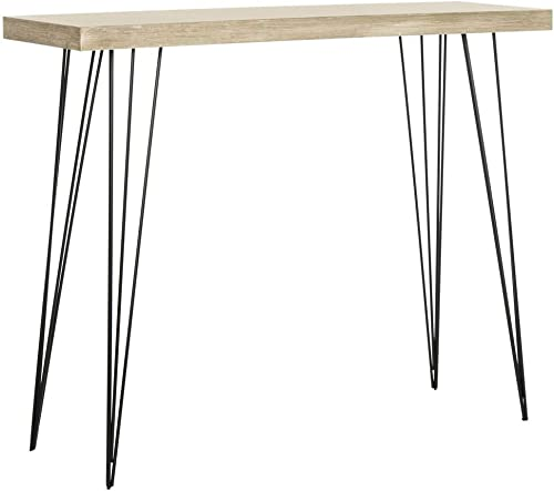 Safavieh Home Collection Lali Retro Mid-Century Light Oak and Black Wood Console