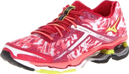 Sugar Pink Footwear (Mizuno Women's Wave Creation 15 Running Shoe,Cerise/Lime Punch/Sugar Coral,6 B US)
