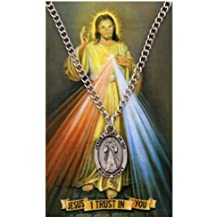 Oval Divine Mercy Medal with Prayer Card