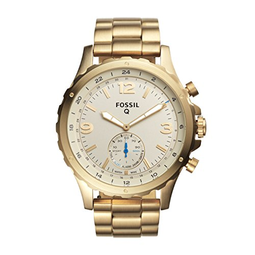51SX0Or2JGL - Fossil Q Men's Nate Stainless Steel Hybrid Smartwatch, Color: Gold-Tone (Model: FTW1142)