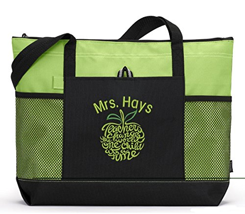 Teacher Tote Personalized with Mesh Pockets -
