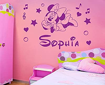 Personalized name Minnie Mouse Vinyl Wall Sticker Kids Art Wall paper Decal For Nursery Room custom name-You select Name and Color