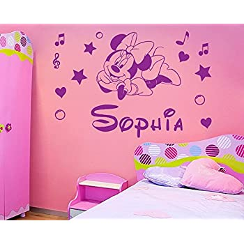 Personalized Name Minnie Mouse Vinyl Wall Sticker Kids Art Wall Paper Decal  For Nursery Room Custom